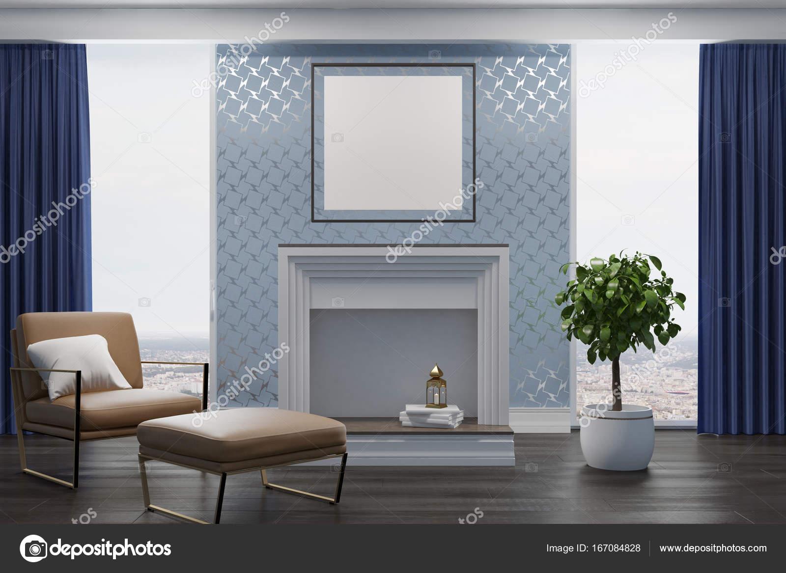 Grijze woonkamer, beige leunstoel, open haard — Stockfoto ...