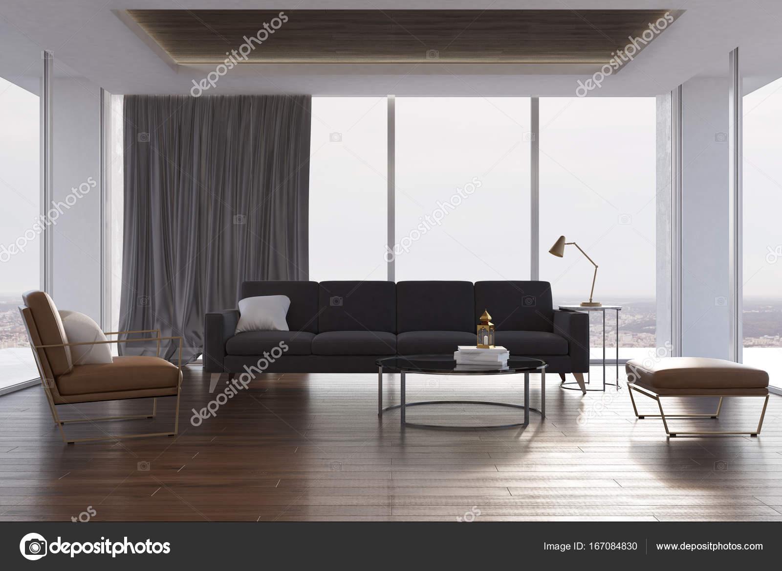 Loft woonkamer, grijze bank en fauteuil — Stockfoto © denisismagilov ...