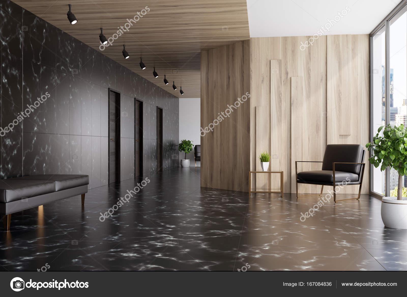 Marbre noir et hall dascenseur en bois fauteuil u2014 photographie