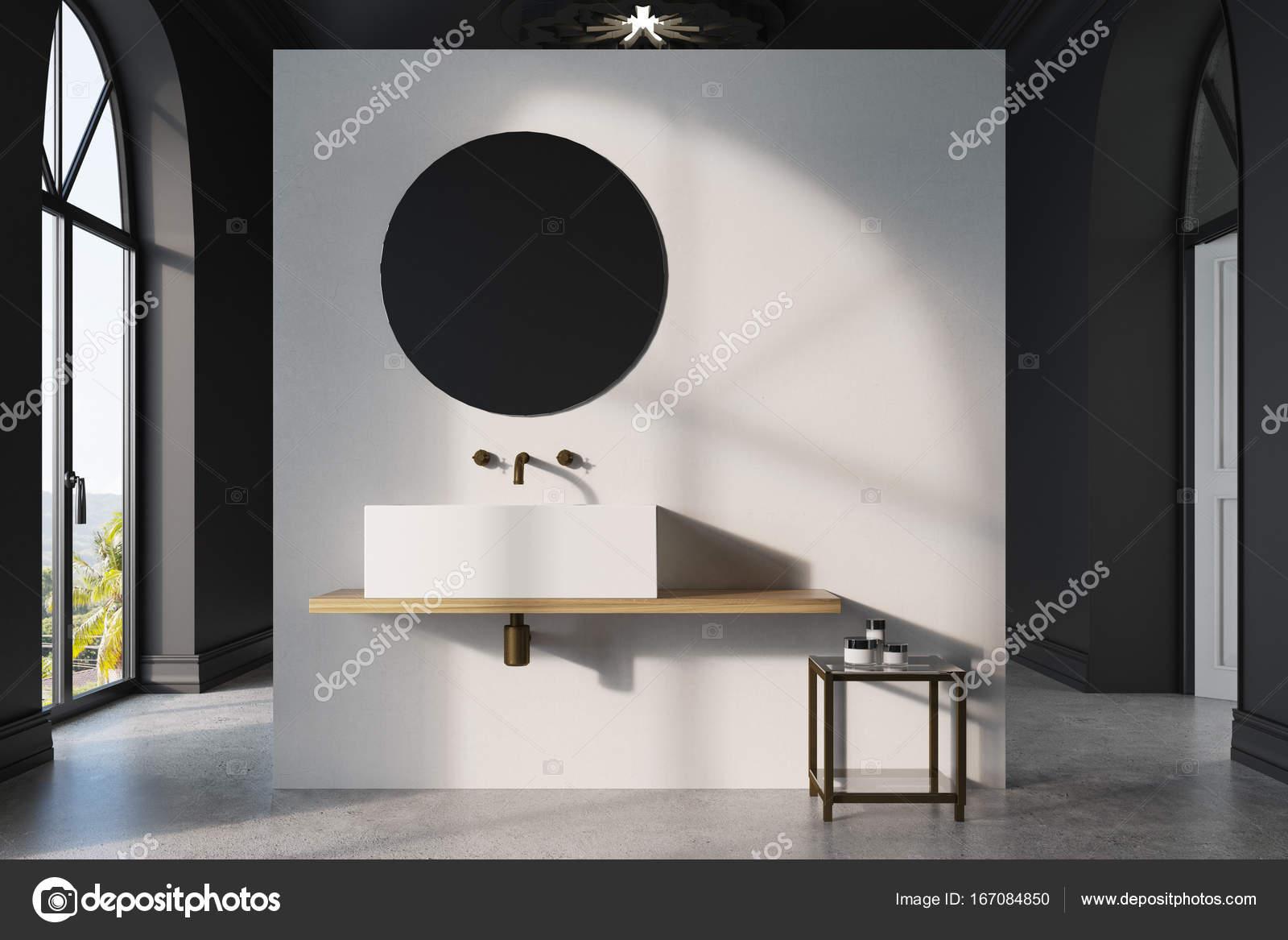 Zwarte ronde spiegel interesting black white bathroom zwart wit