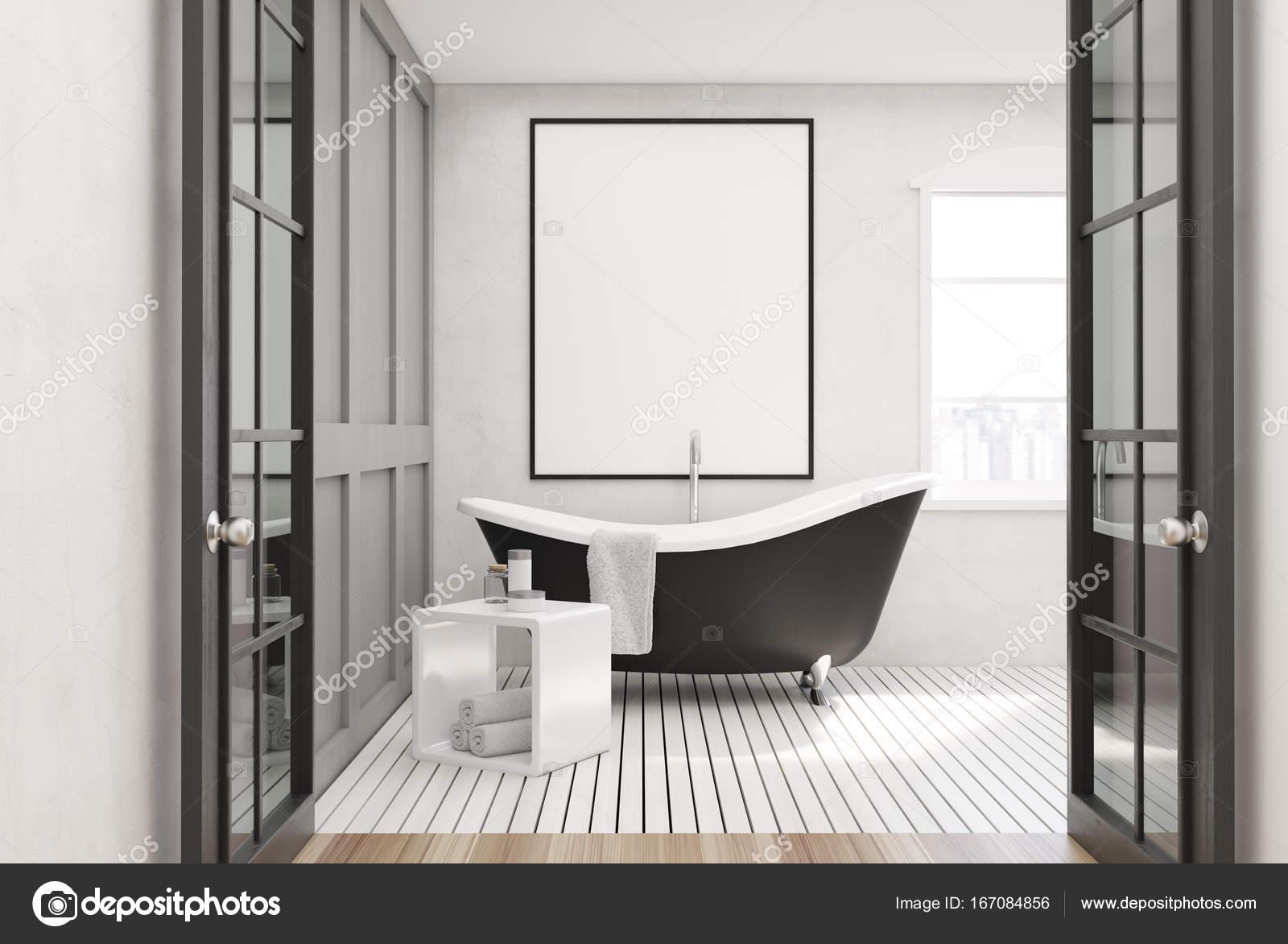 Weiße Badezimmer, schwarze Wanne, poster — Stockfoto ...