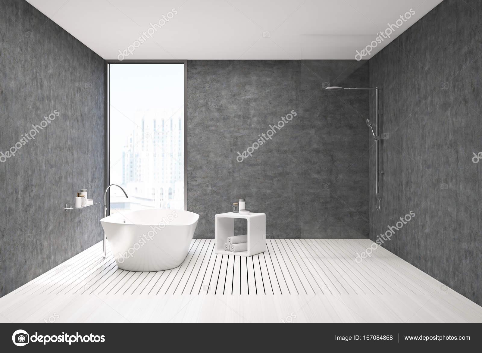 Bagno completo in legno cemento e bianco u2014 foto stock