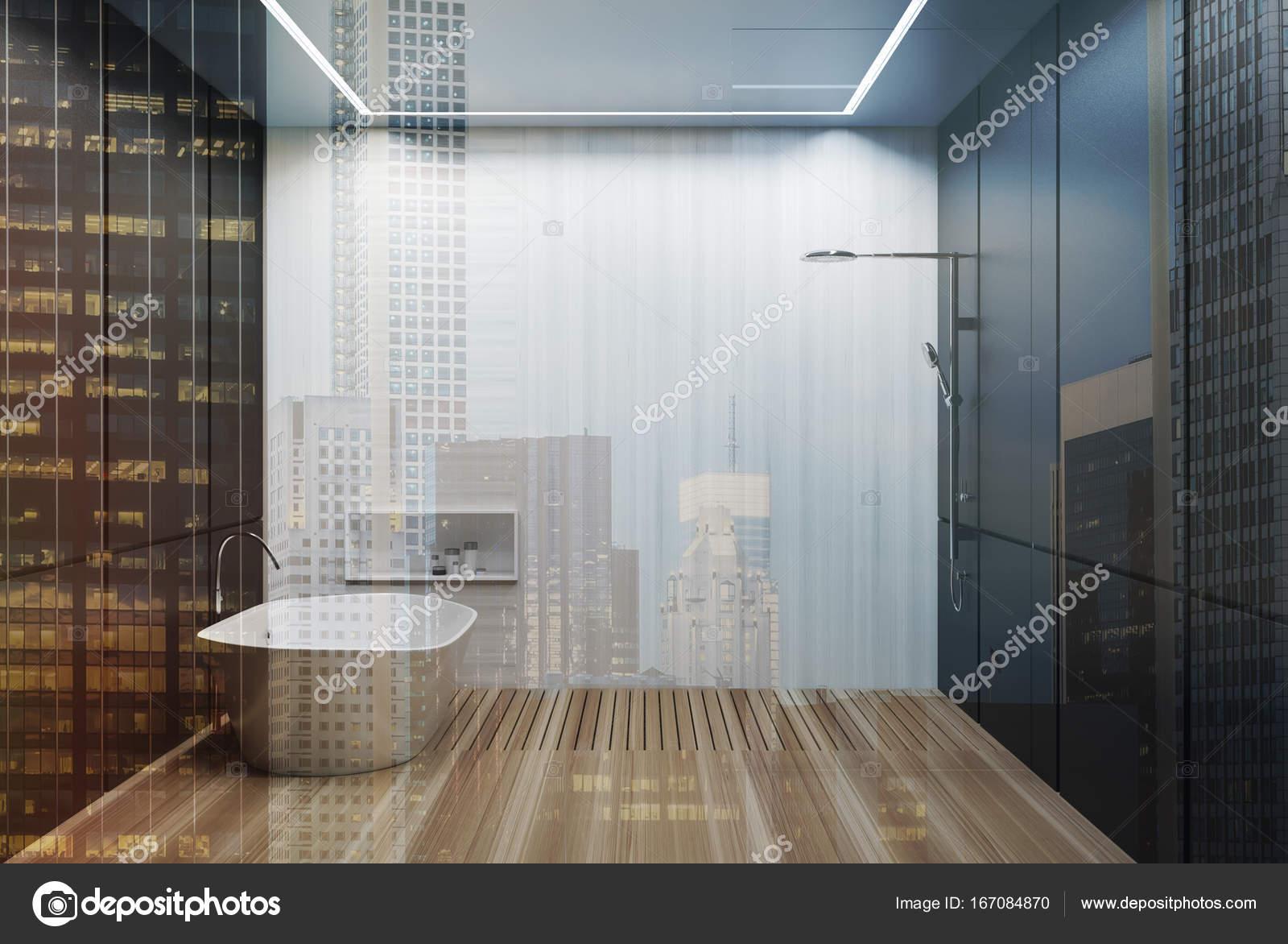 Szürke és fehér csempés fürdőszoba, kád, zuhany, tónusú — Stock ...
