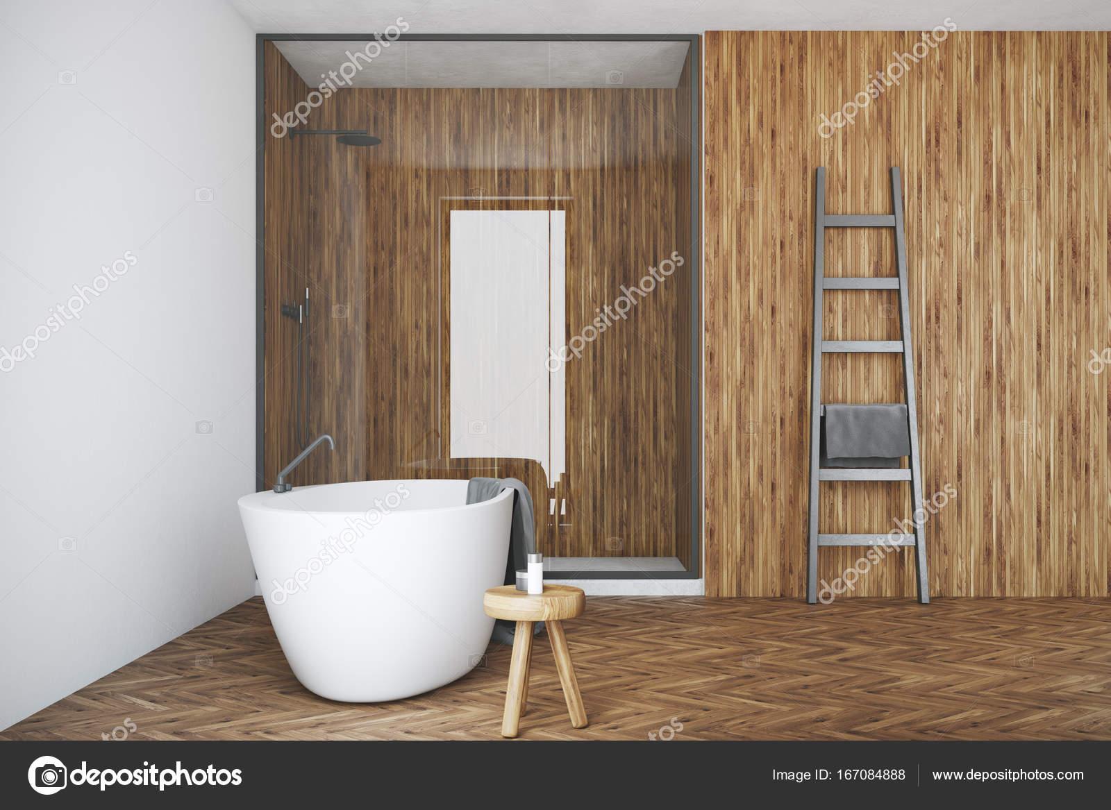 Bagno Legno Bianco : Bagno bianco e legno bianco vasca doccia u foto stock