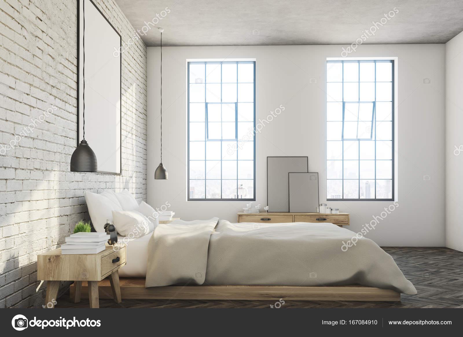 Witte bakstenen slaapkamer, poster, kant — Stockfoto ...