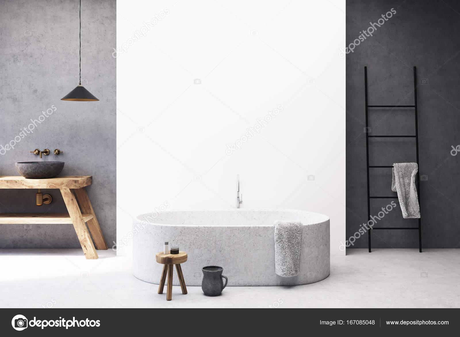 Vasca Da Lavare In Cemento : Bagno bianco e cemento rotonda vasca u foto stock
