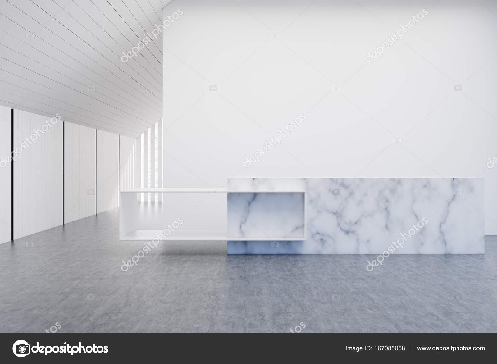 Bureau de mur blanc et bois réception en marbre u photographie