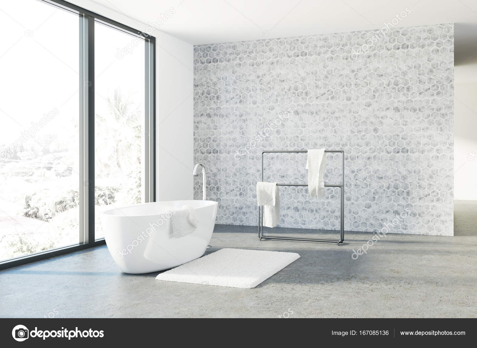 Concrete bathroom, white tub, loft — Stock Photo © denisismagilov ...