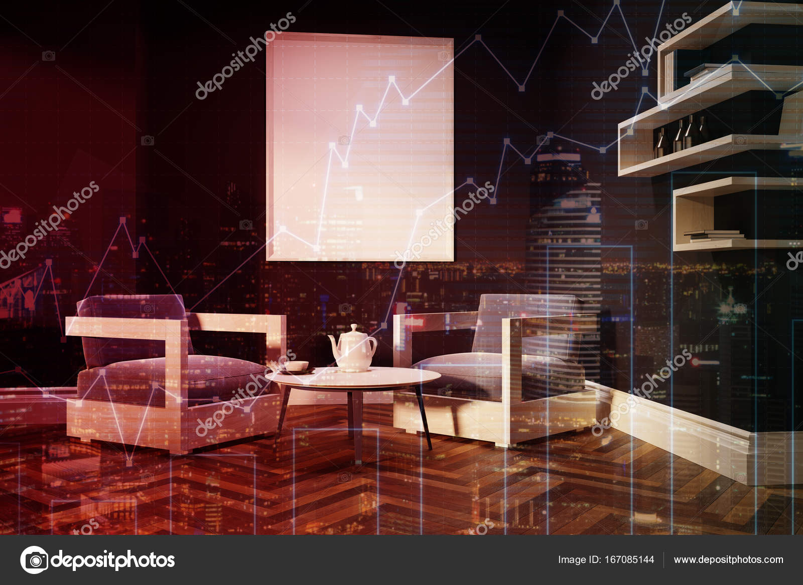 Donkerblauw woonkamer, Fauteuils, poster toned — Stockfoto ...