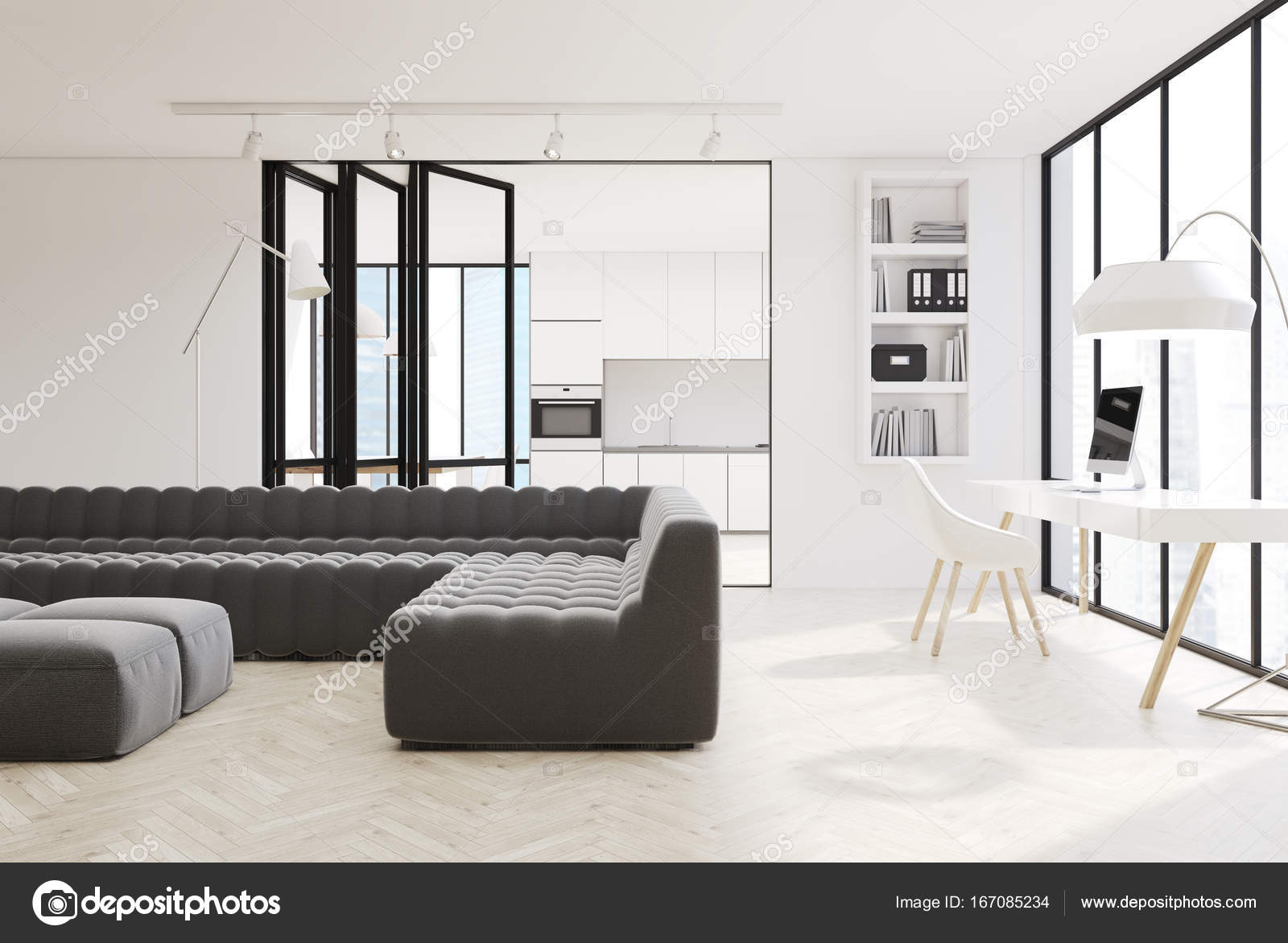 Divani Bianchi E Neri : Salone bianco divani interni nero u foto stock denisismagilov