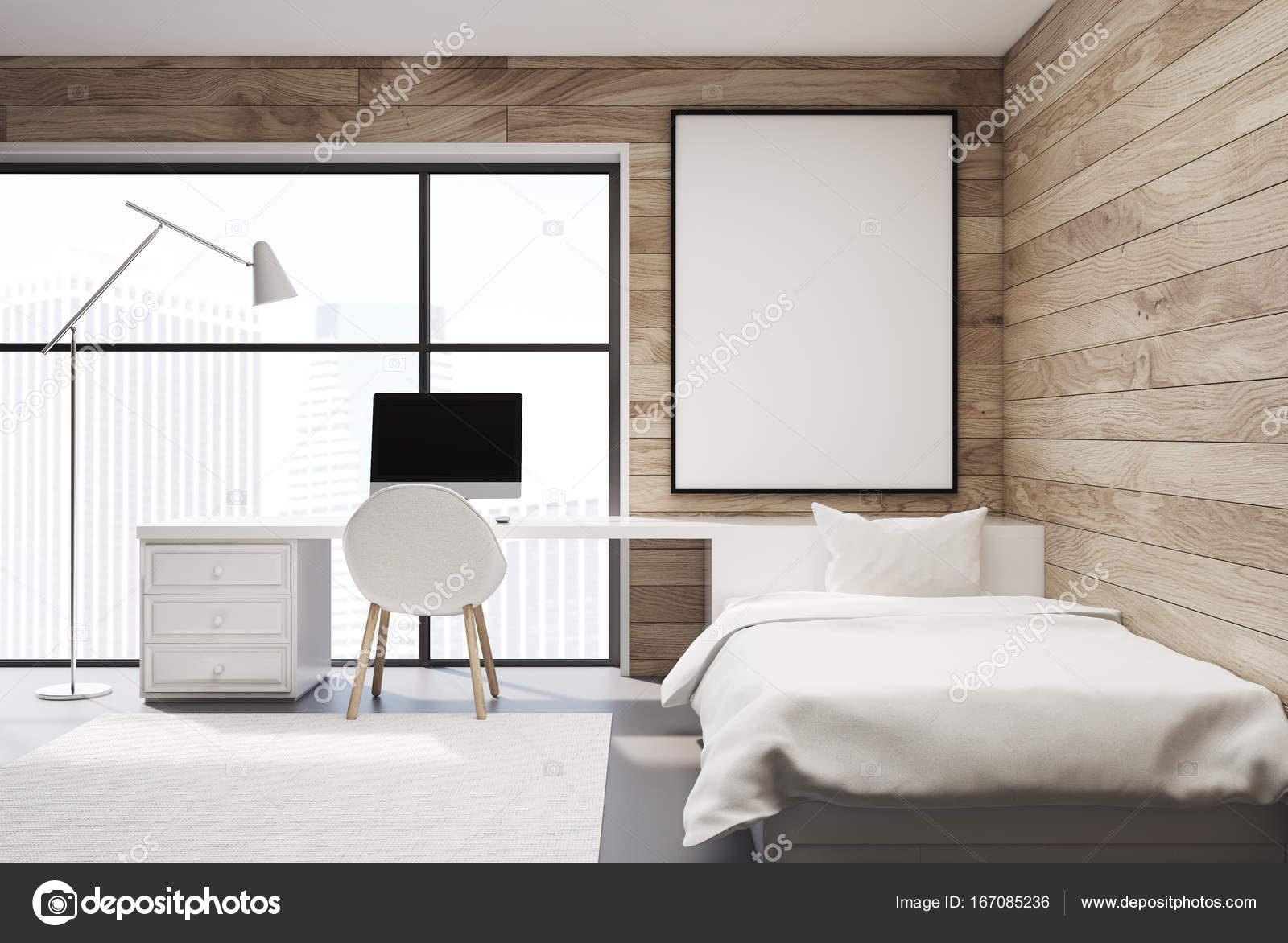 Vorderansicht Eines Hölzernen Schlafzimmer Interieurs Mit Einem Weißen  Bett, Ein Sessel, Ein Computertisch Und Einen Teppich. Eine Vertikale  Gerahmte Poster ...
