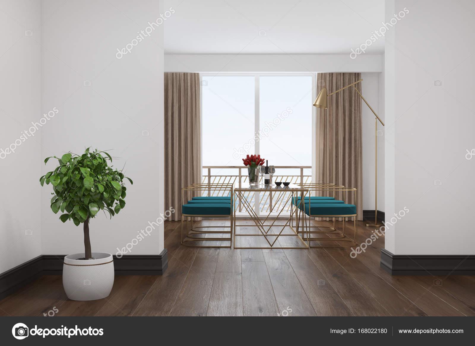 Wit interieur blauwe stoelen van eetkamer u stockfoto