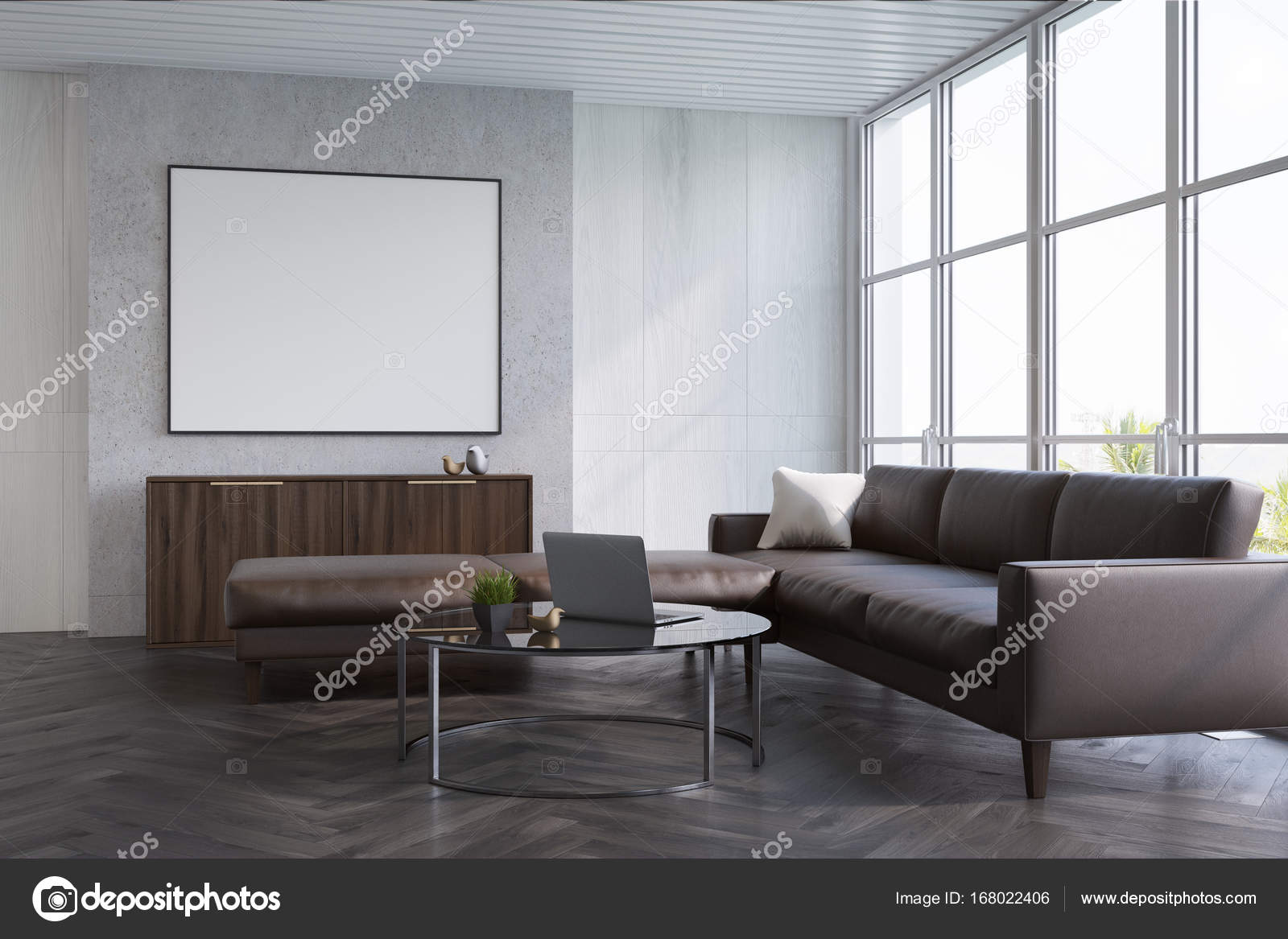 Grijze woonkamer, sofa en poster — Stockfoto © denisismagilov #168022406
