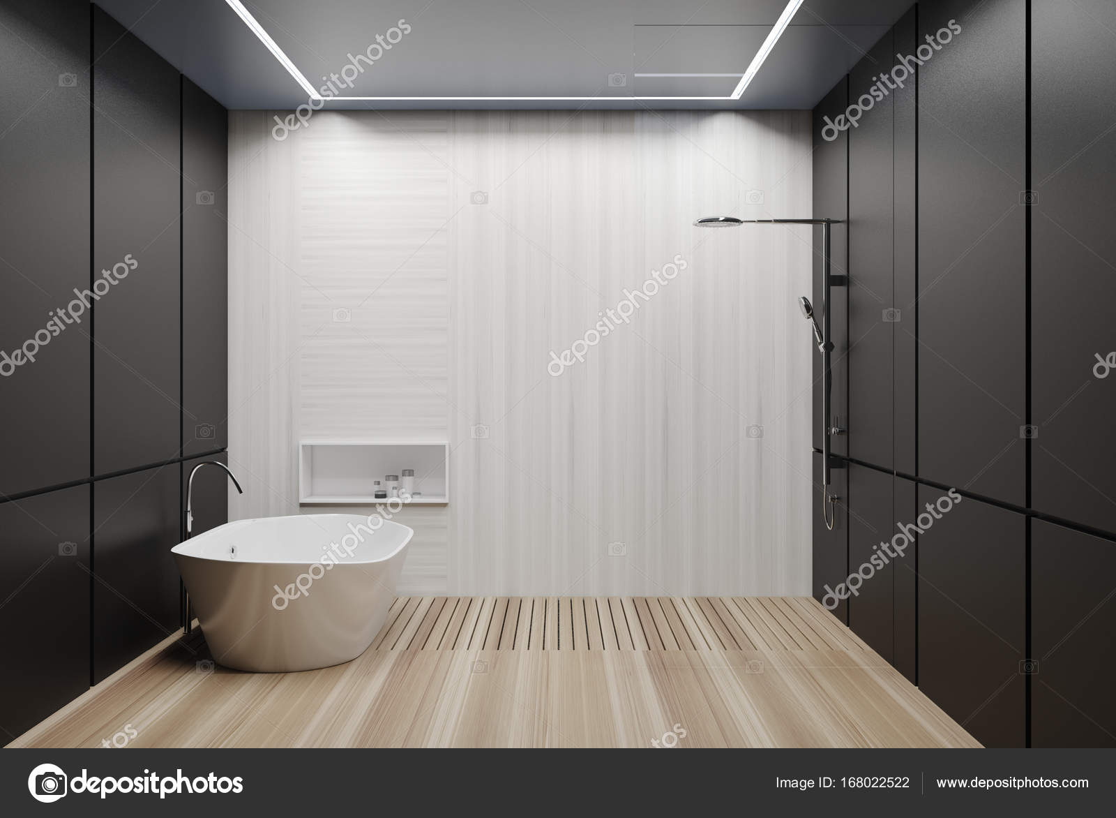 Gray and white tiled bathroom, tub and shower — Stock Photo ...