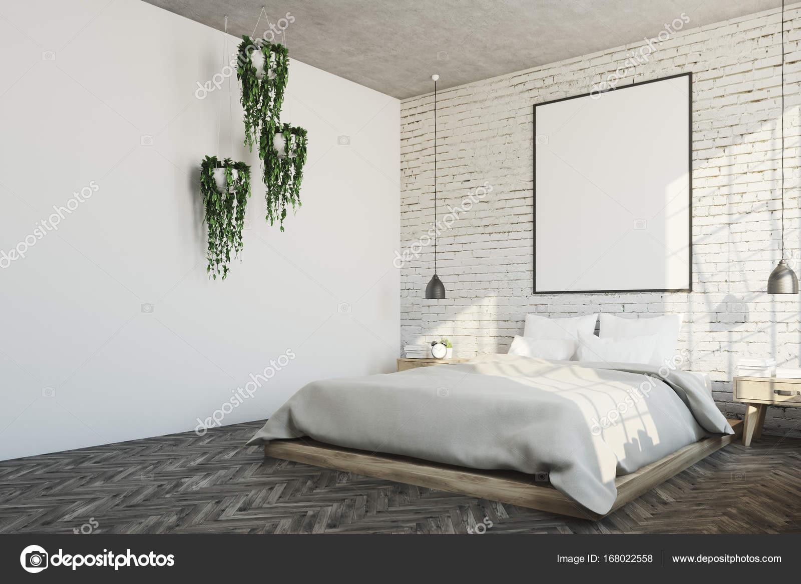 Witte bakstenen slaapkamer, poster, planten hoek — Stockfoto ...
