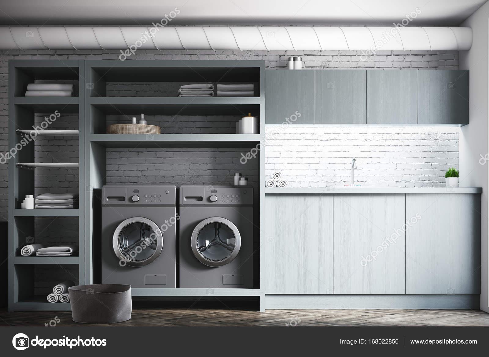 Witte kamer interieur grijze wassen wasmachines u stockfoto
