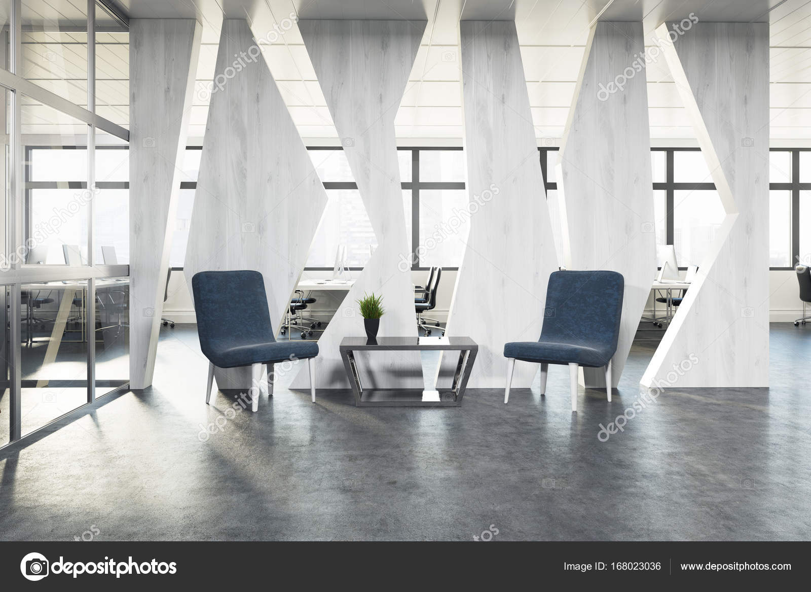 stylish office waiting room furniture. Two Stylish Blue Armchairs Are Standing Near A Coffee Table In An Office Waiting Area. Open Space Room Is The Background. 3d Rendering Mock Up \u2014 Photo Furniture F