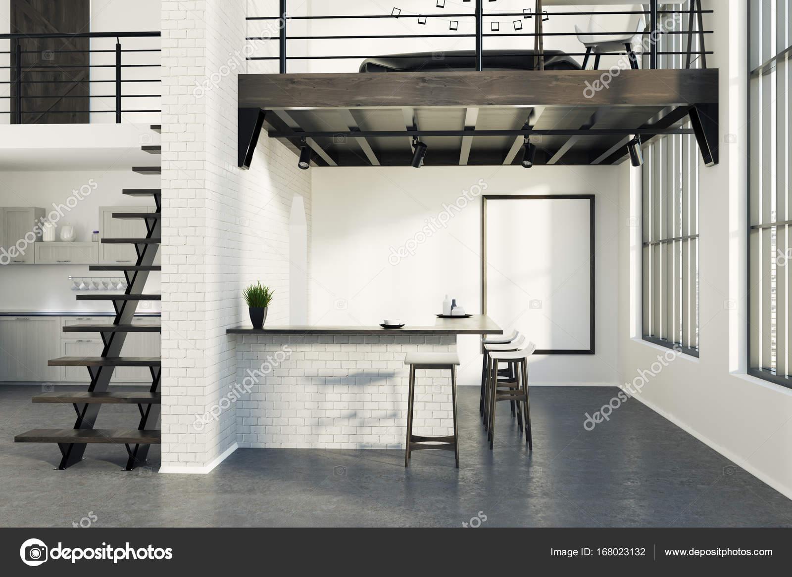 Ziegel-Küche-Bar mit einem Plakat, grau — Stockfoto © denisismagilov ...