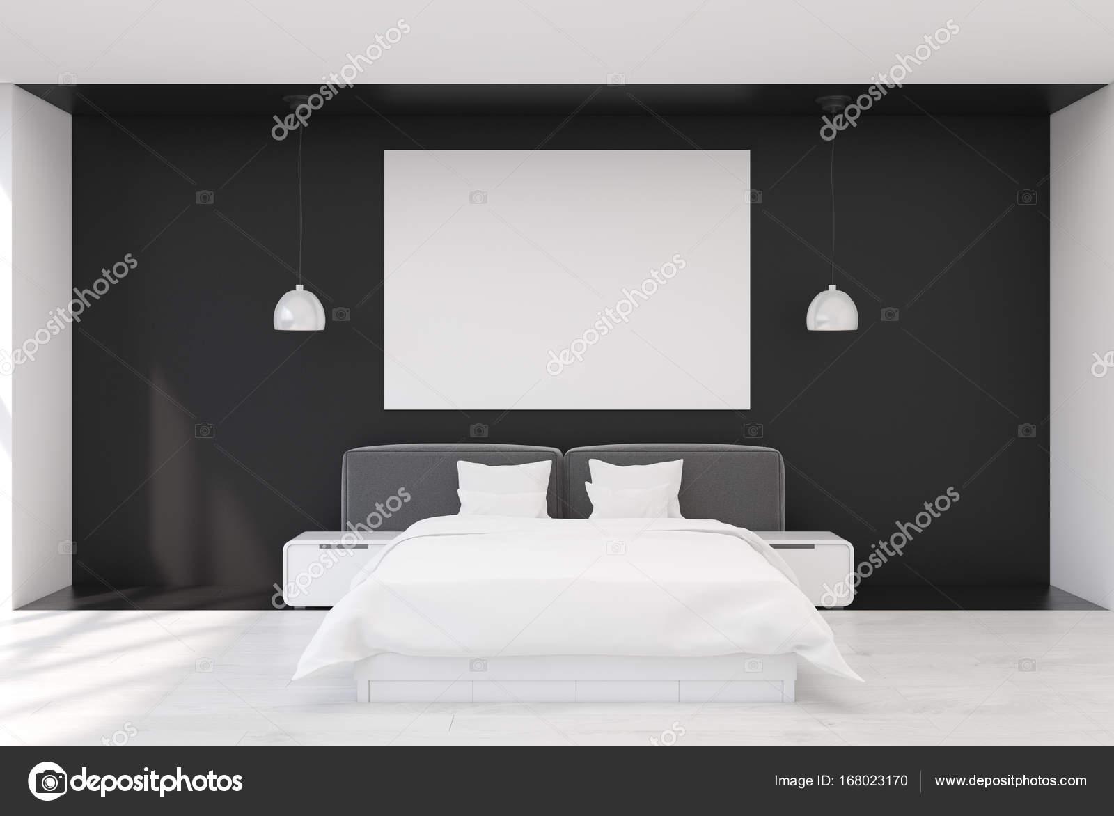 Camera da letto nera con un manifesto — Foto Stock ...