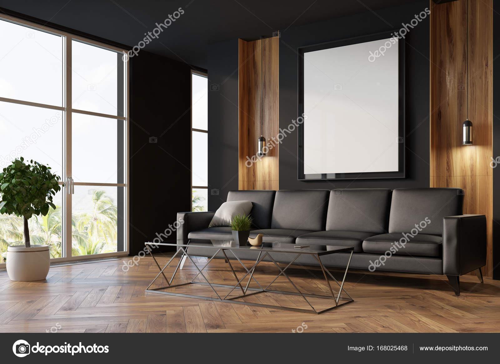Preto E Sala De Estar De Madeira Sof E Cartaz Fotografias De  -> Sala Cinza Preto