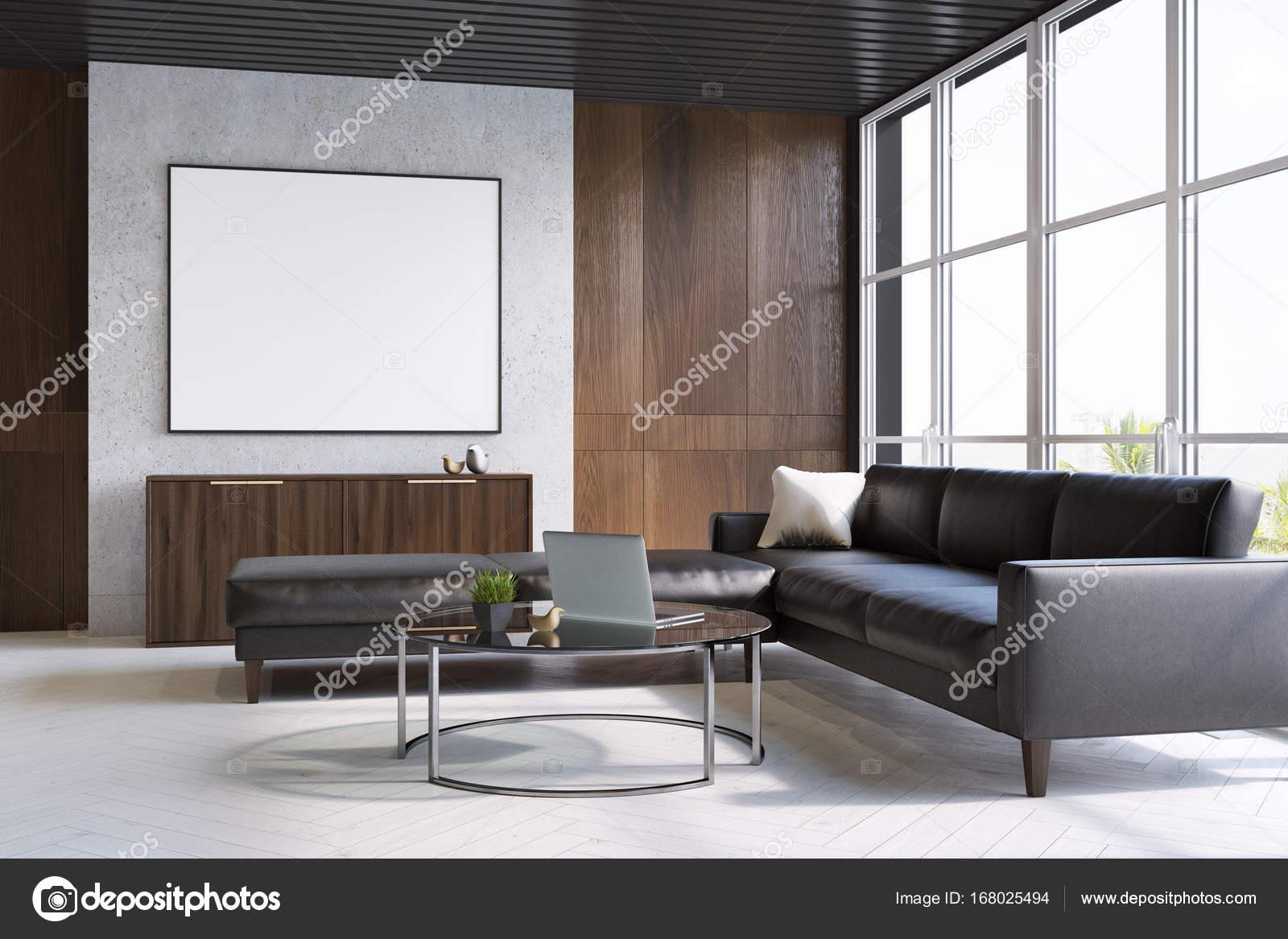 Gris y madera sala de estar, sofá y cartel — Fotos de Stock ...
