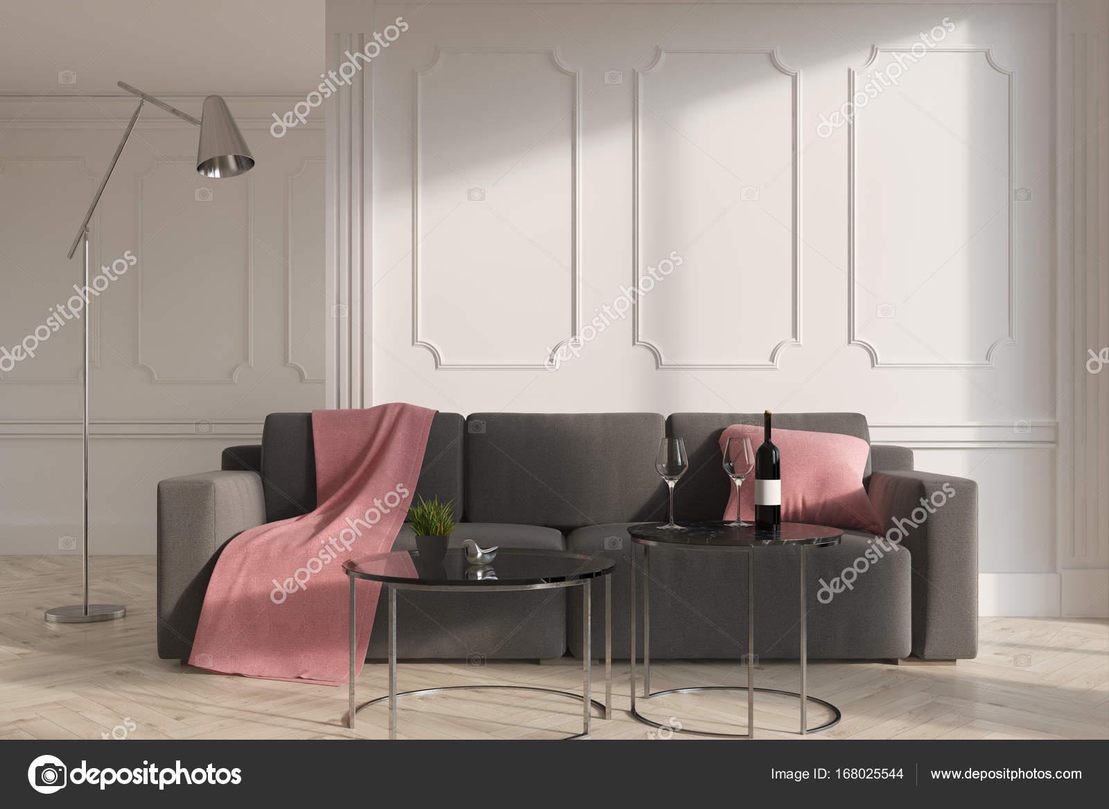 Wit woonkamer interieur, grijze bank — Stockfoto © denisismagilov ...
