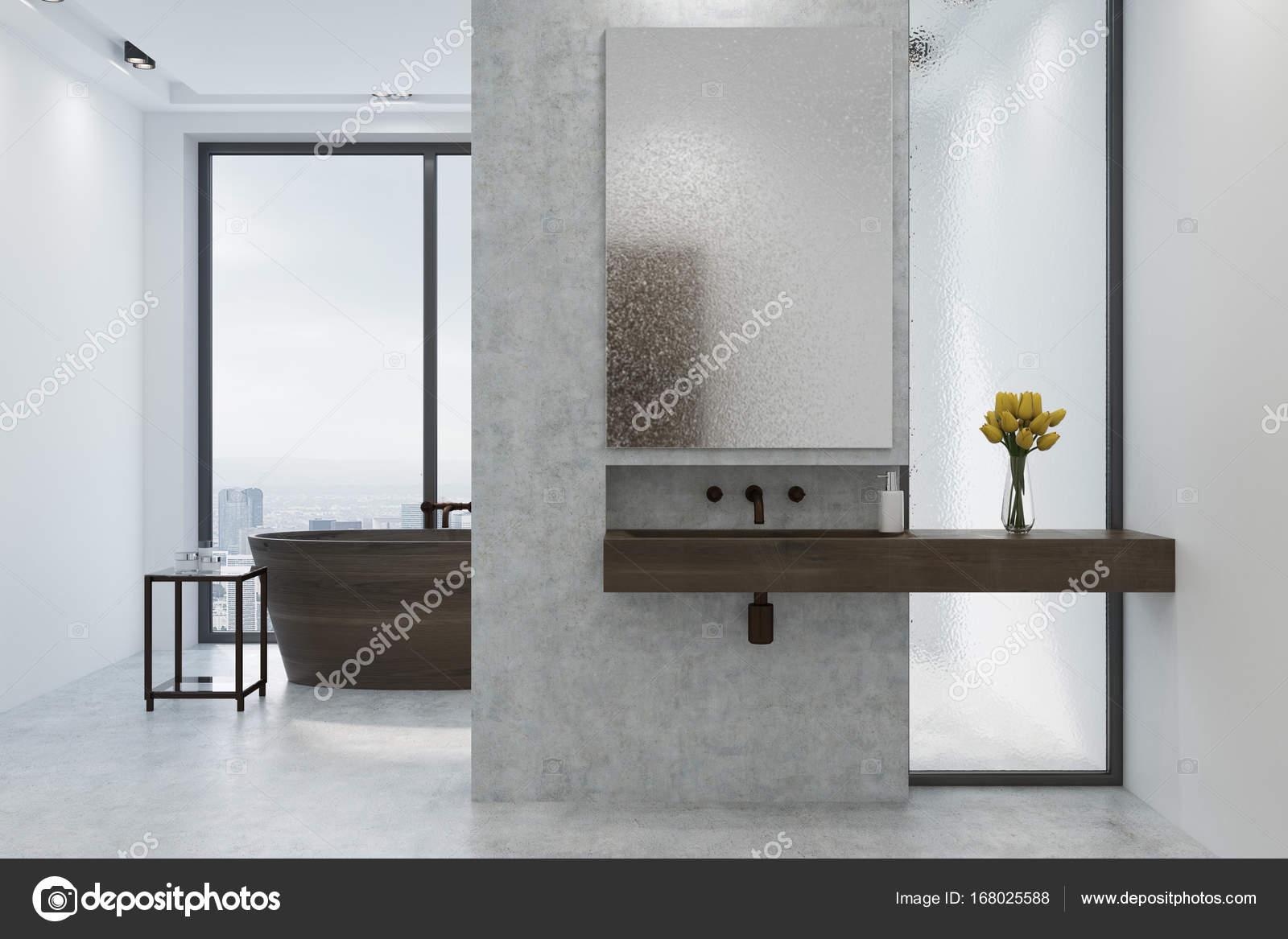 Lavandino bagno bianco e cemento vasca di legno foto - Vasca da bagno in cemento ...