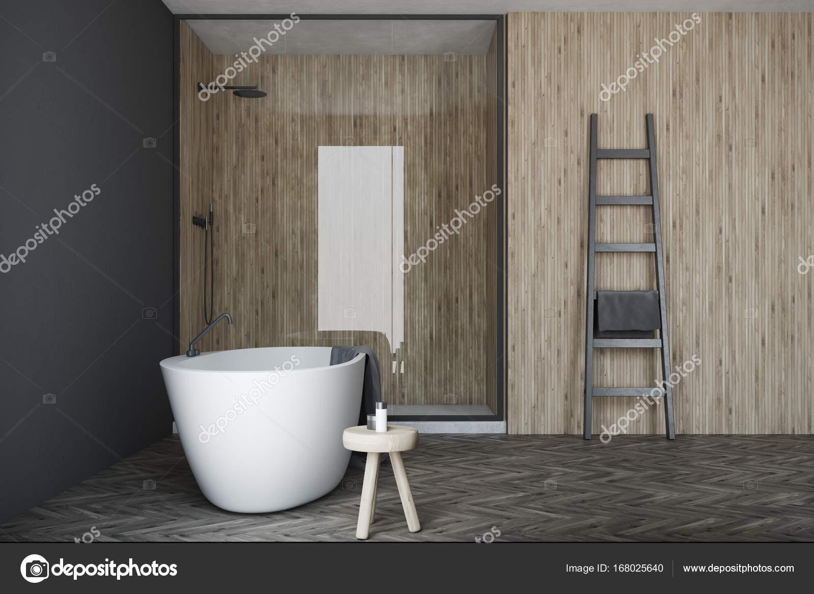 Bagno Legno E Grigio : Bagno grigio e in legno vasca bianca doccia u2014 foto stock