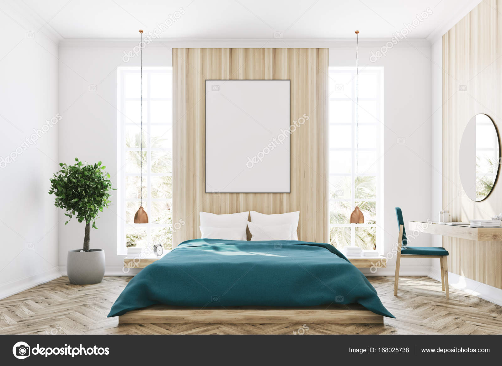 Weiß und Holz Schlafzimmer, poster — Stockfoto ...