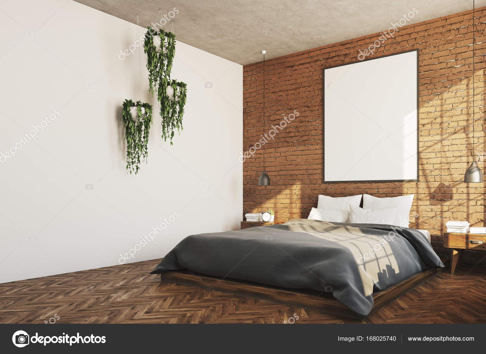 Camera da letto di mattoni, poster, angolo di piante — Foto Stock ...