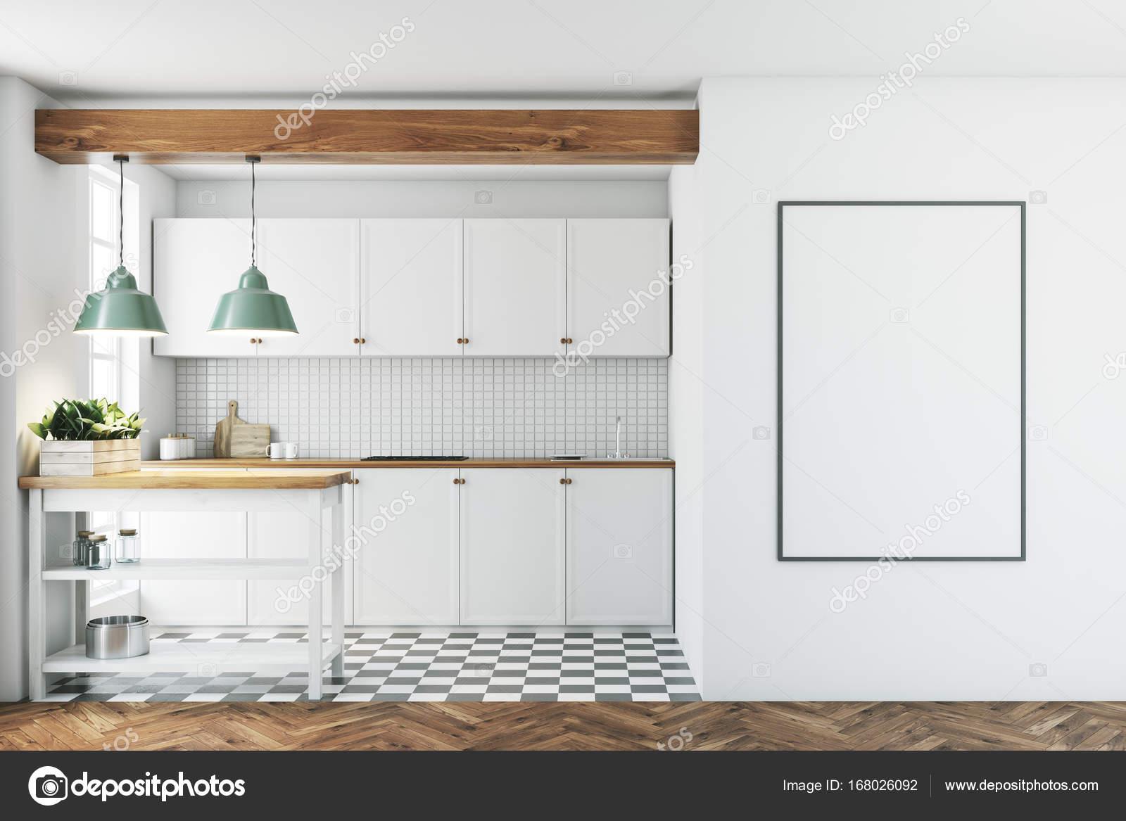 Cucina bianca interni, piastrelle pavimento, poster — Foto ...