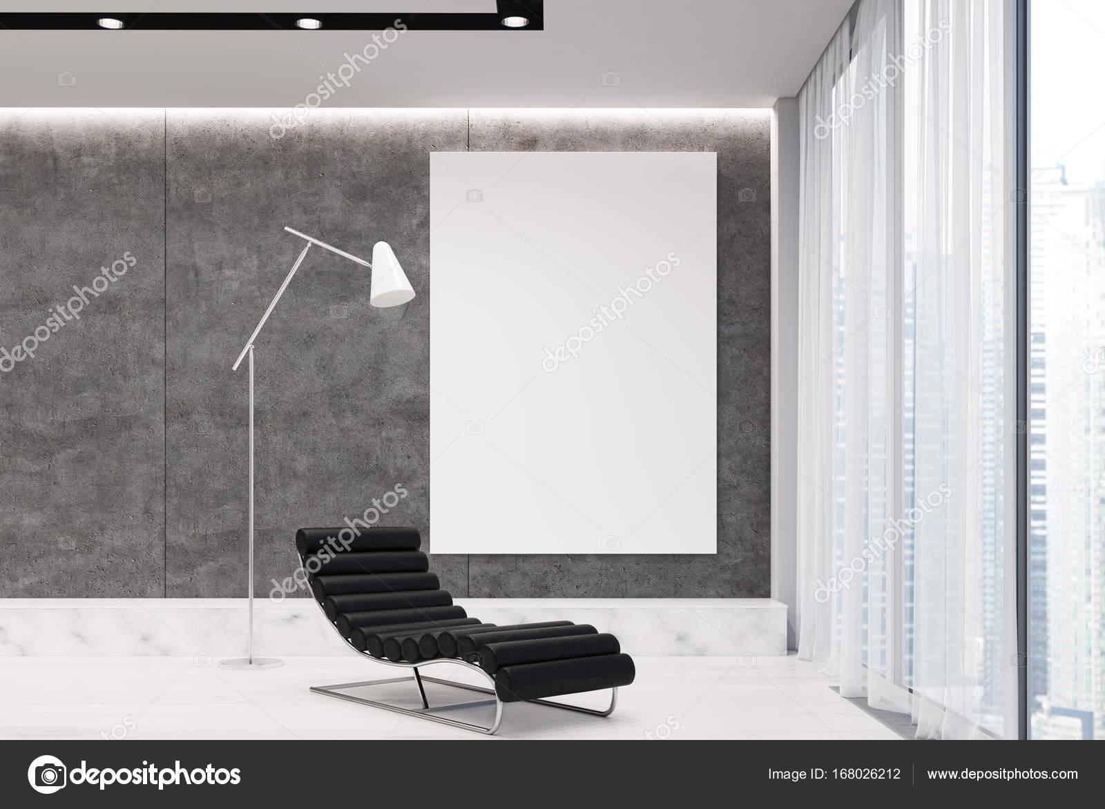 Gris salon avec fauteuil et affiche — Photographie ...