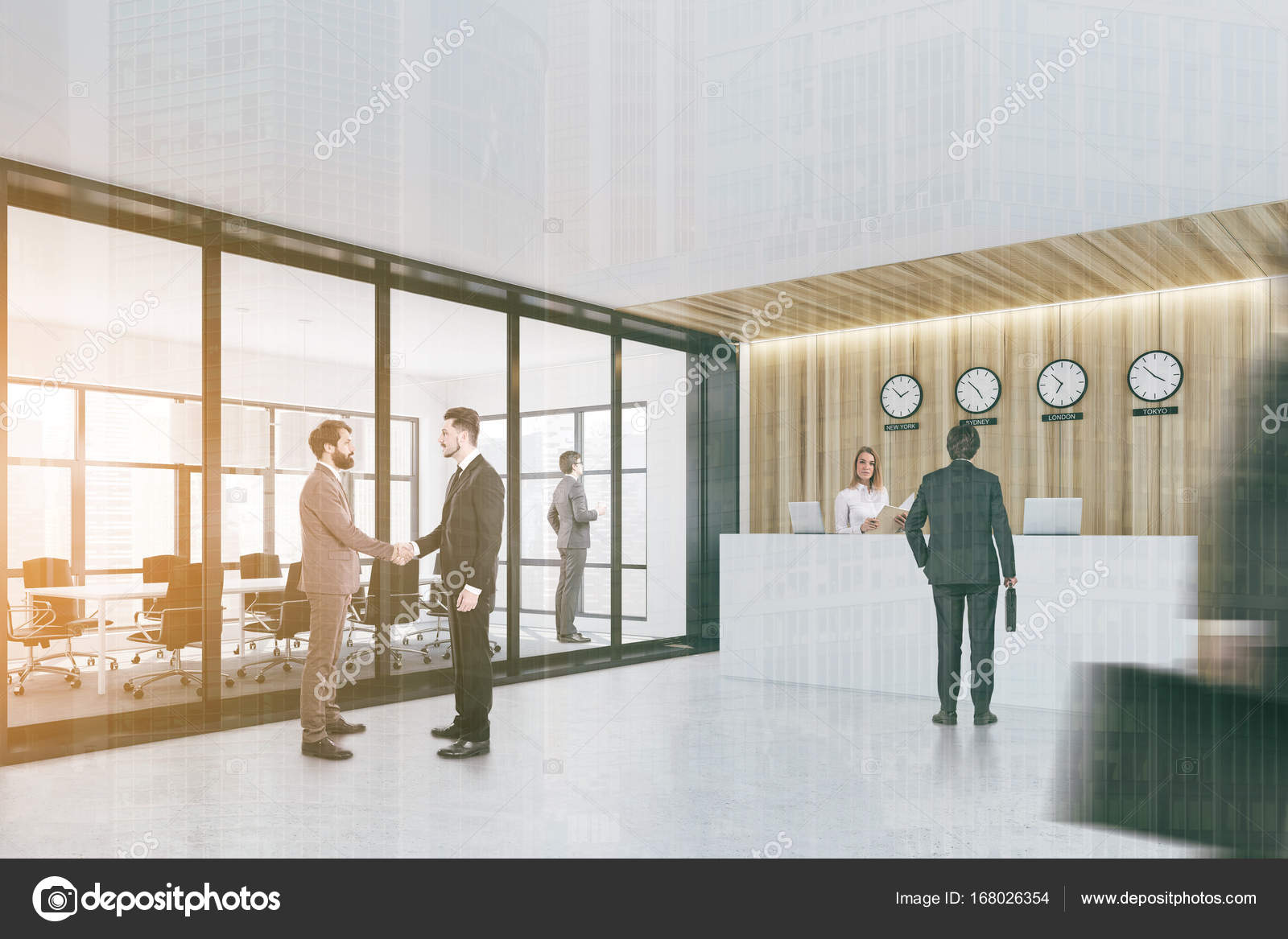Gente di affari vicino a un bancone reception ufficio u2014 foto stock