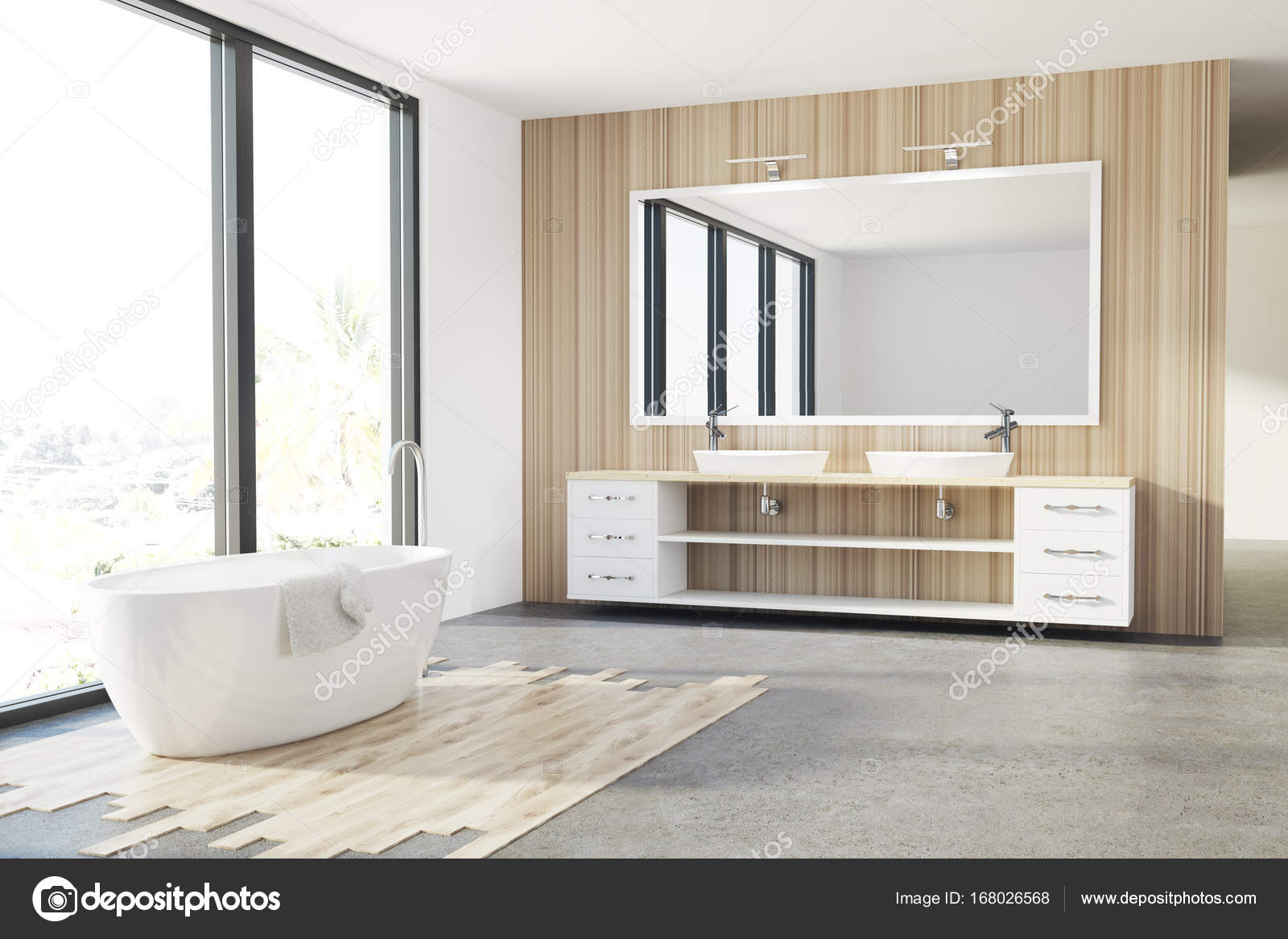 Houten badkamer, witte badkuip, wastafel, loft — Stockfoto ...