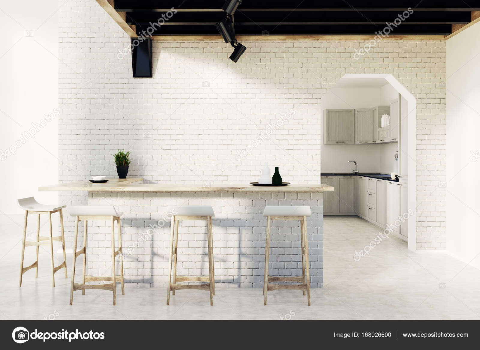 Brick kitchen bar, stools and a door 9