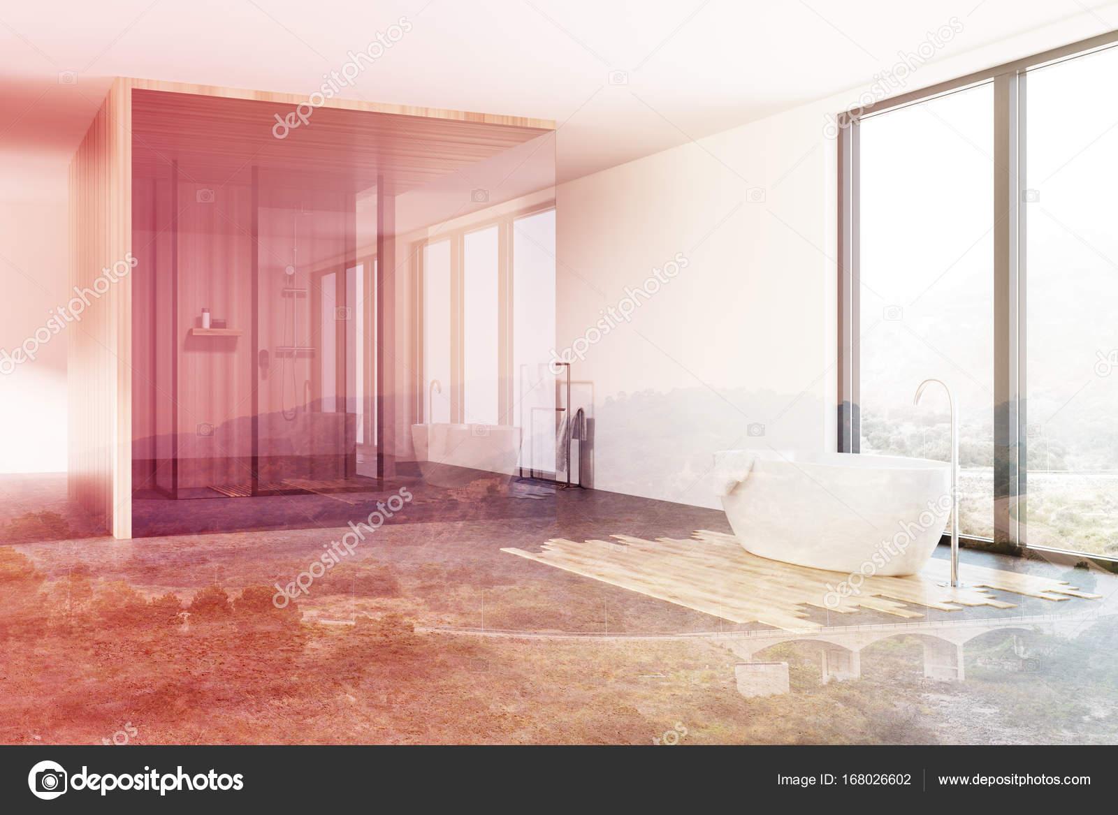 Angolo di bagno doccia e vasca di loft tonica u2014 foto stock