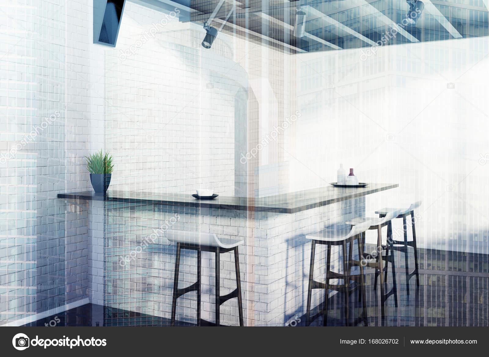 Gemauerte Küche bar Hocker, graue Ecke Doppel — Stockfoto ...