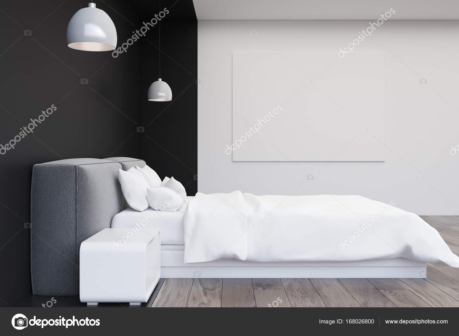Schwarz / weiß-Schlafzimmer mit einem Plakat — Stockfoto ...