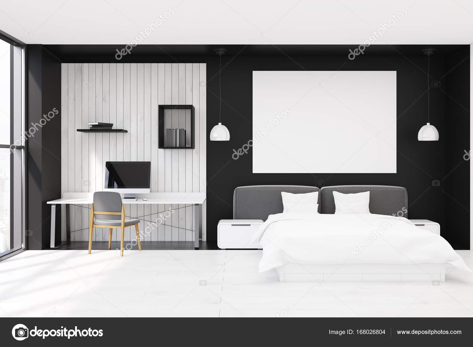 zwart wit houten slaapkamer interieur met een houten vloer grote ramen een tweepersoonsbed en een kantoor aan huis hoek met een computer en een boek