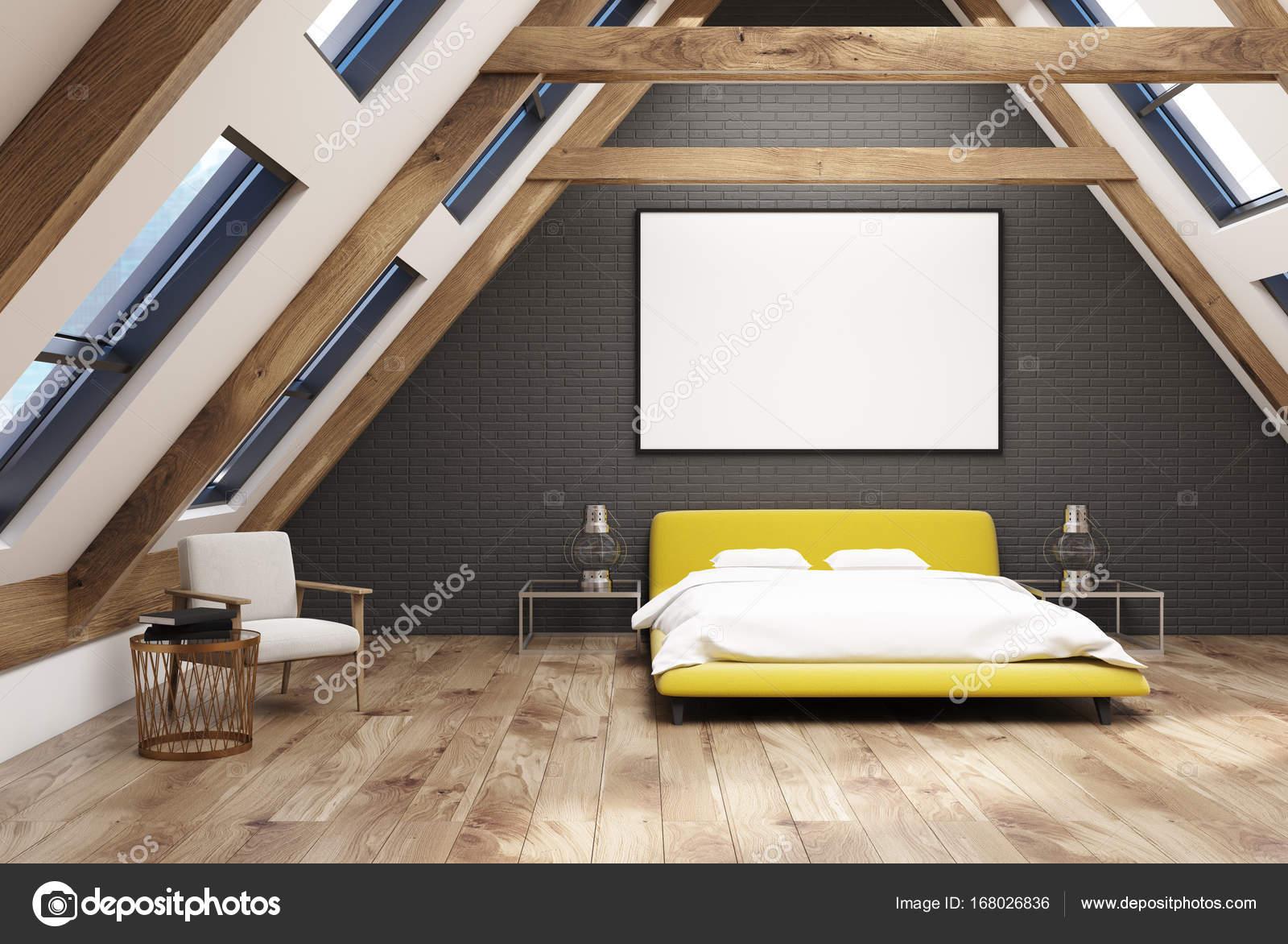 Inspirierend Dachboden Galerie Von Graue Schlafzimmer Innenraum Mit Einem Hölzernen Fußboden,