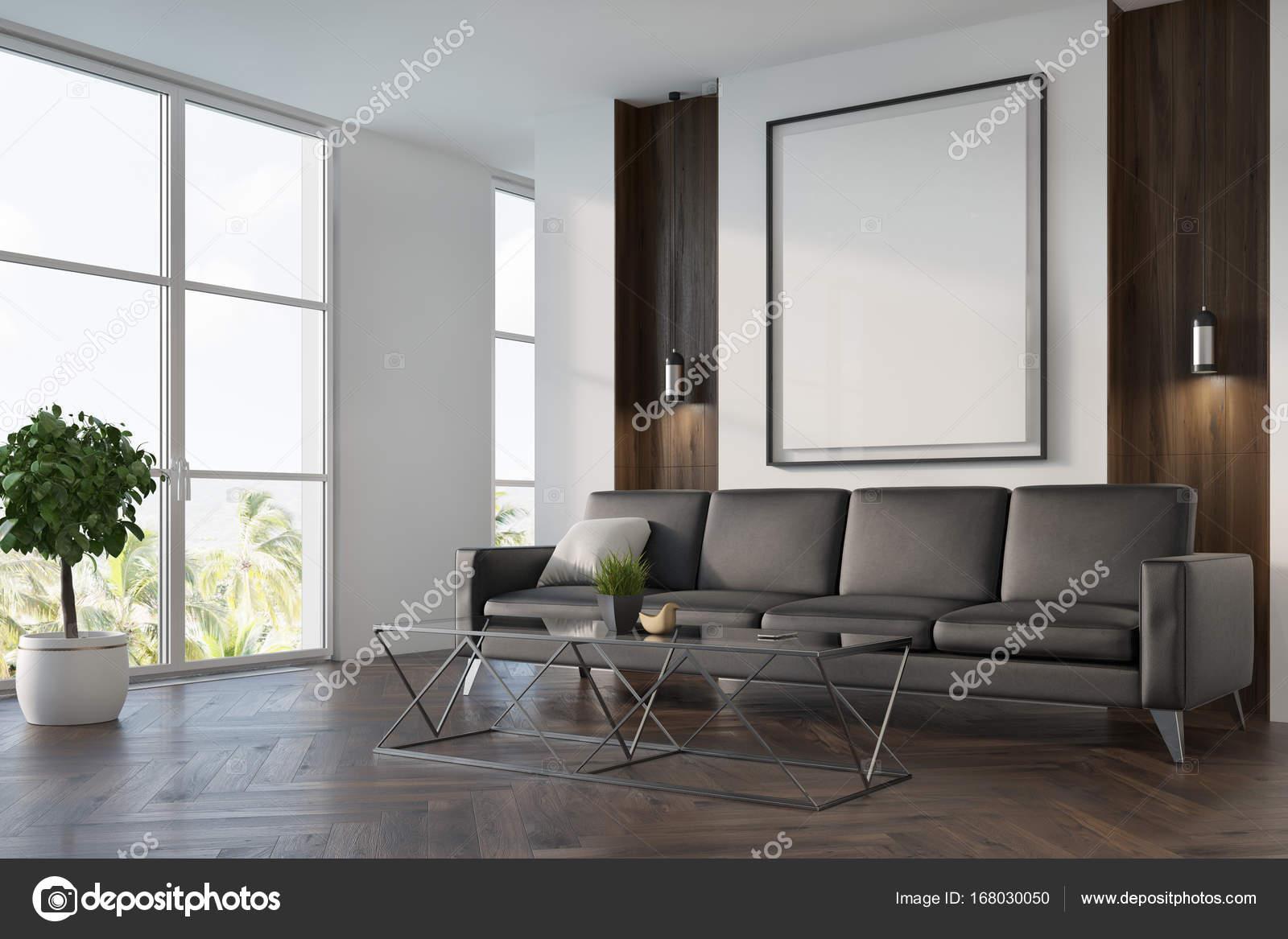 Salotto Pavimento Bianco : Bianco e legno salotto divano poster — foto stock