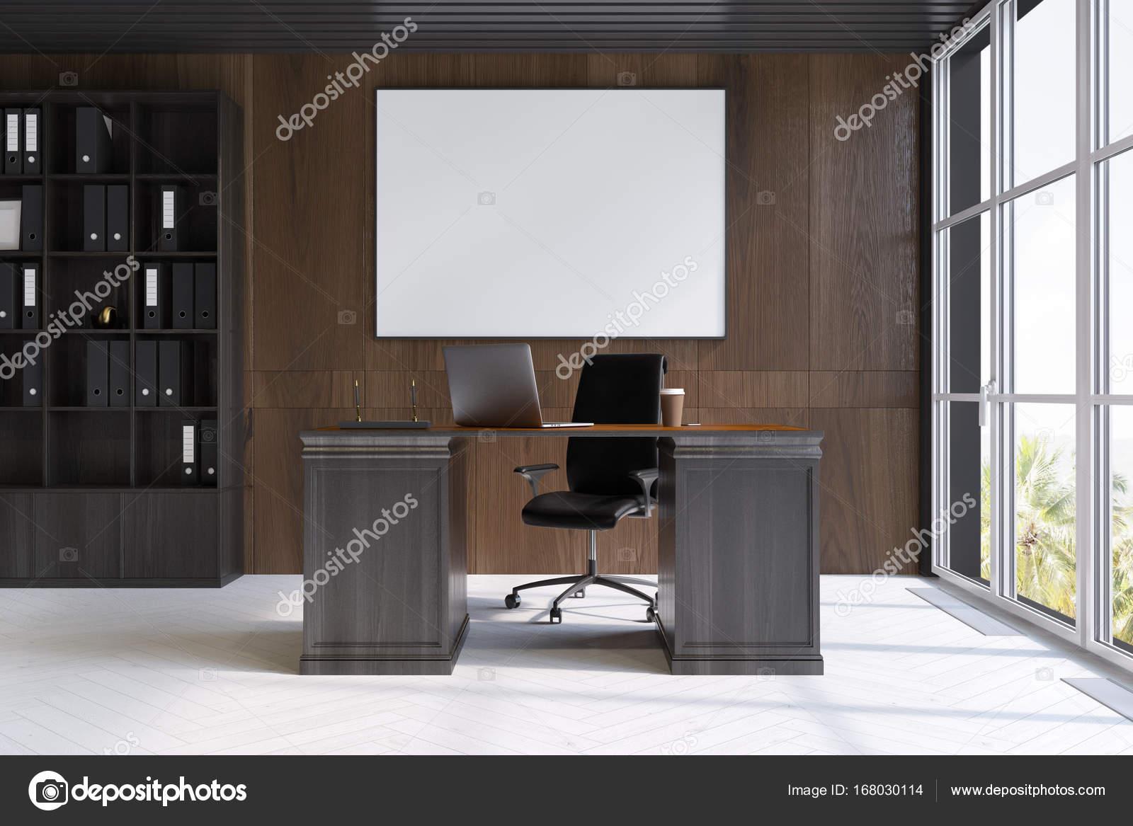 Affiche intérieure bureau de pdg bois foncé u photographie