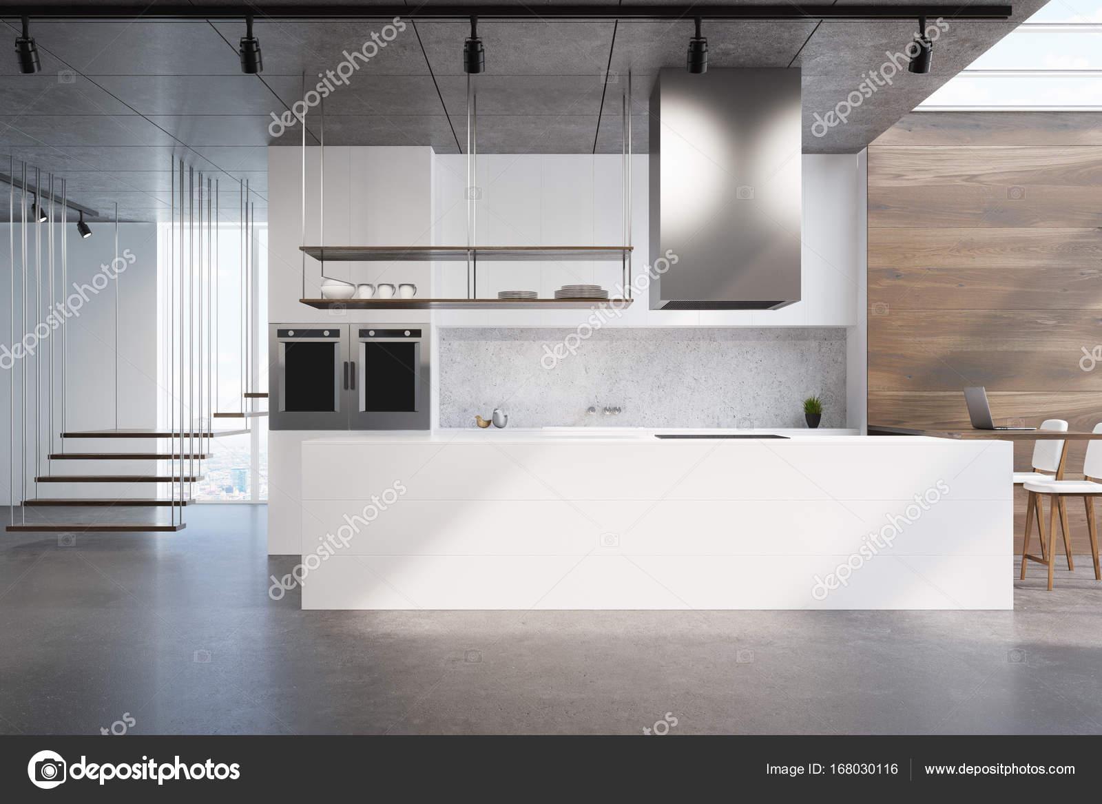 Houten Keuken Beton : Witte keuken teller hout en beton u stockfoto denisismagilov