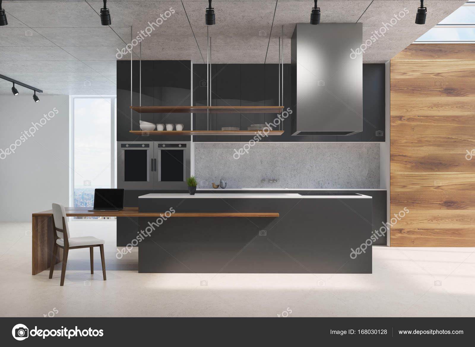 Schwarz und aus Holz Küchentheke — Stockfoto © denisismagilov #168030128