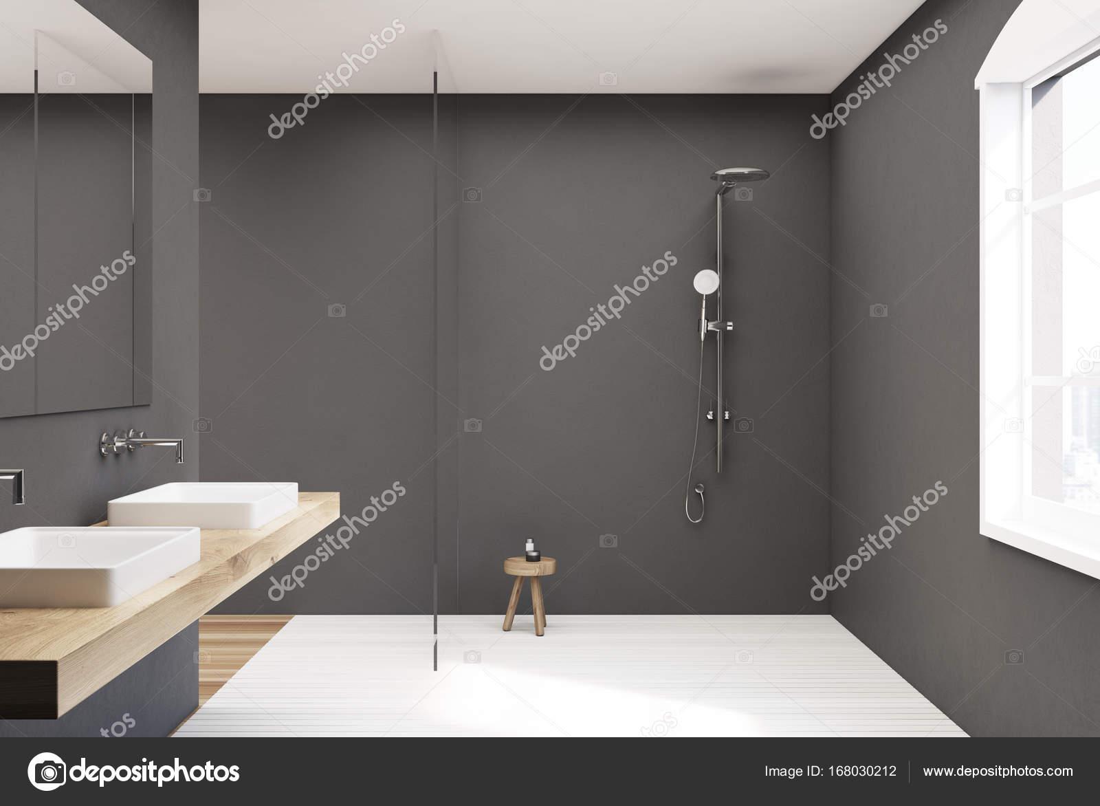 Imágenes: duchas | Ducha, doble lavabo y cuarto de baño gris — Foto ...