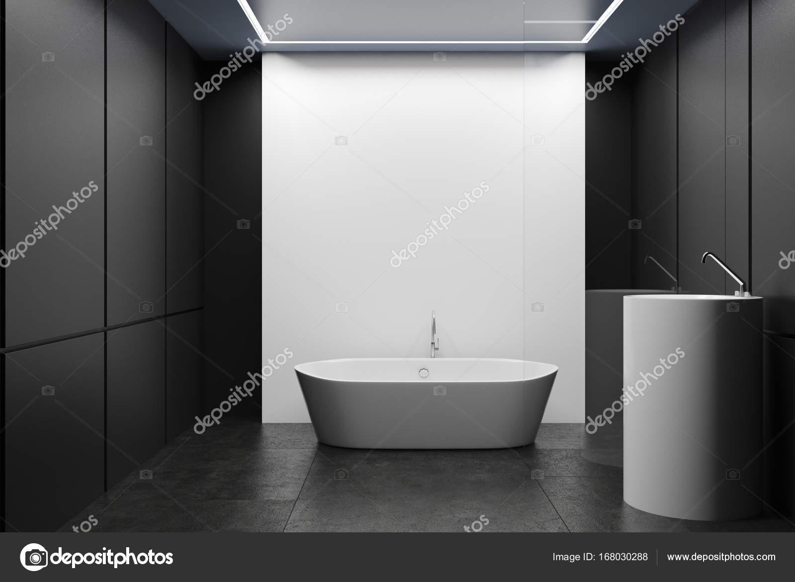 Grigio e bianco piastrella bagno vasca e lavandino u foto stock