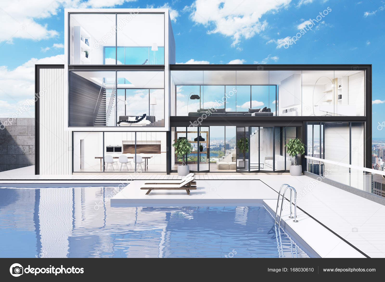 Blanc en bois et verre mur manoir avec une piscine de luxe il y a deux chaises longues dans lyard rendu 3d maquette image de denisismagilov
