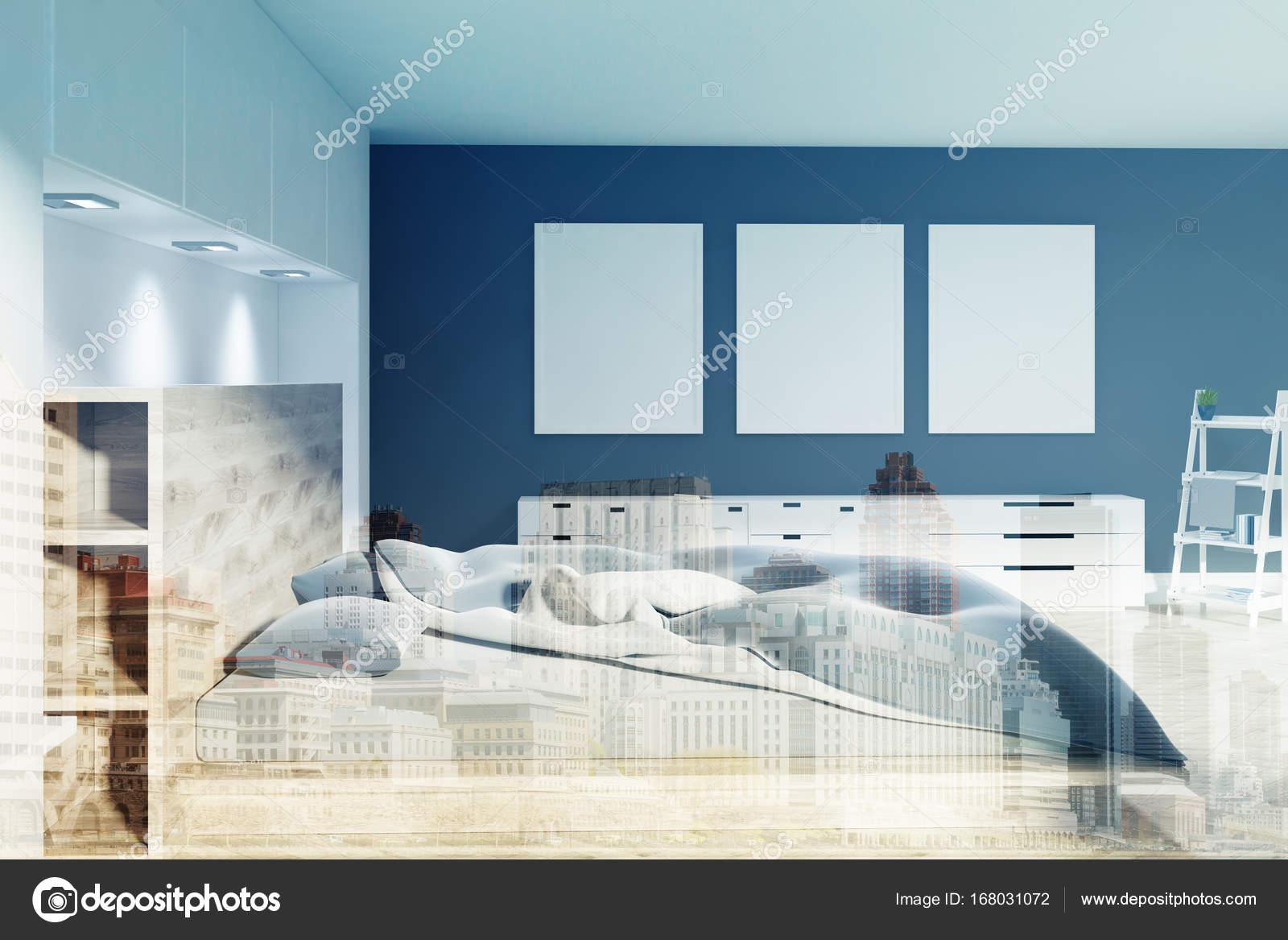 Witte en zwarte slaapkamer, drie posters kant toned — Stockfoto ...