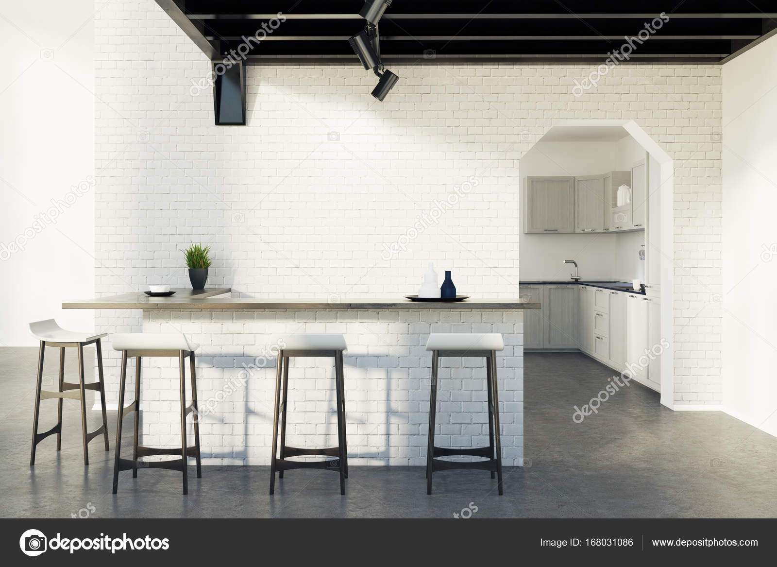 Mattone cucina bar sgabelli e una porta grigia u foto stock