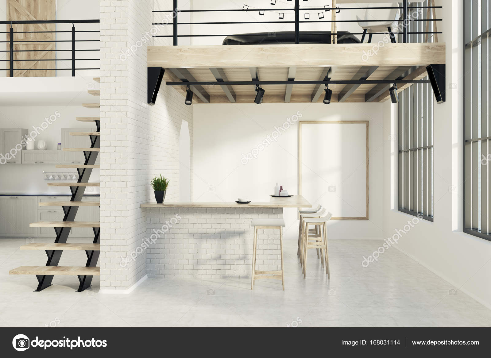 Ziegel-Küche-Bar mit einem Plakat — Stockfoto © denisismagilov ...